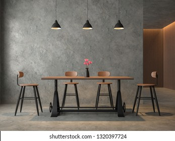 Loft style dining room with polished cocrete 3d render,Furnished with industrial style wood and metal furniture,Decorate wall with wood lattice.