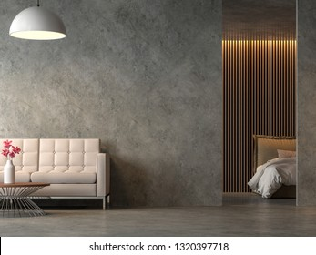 Loft style liveng room and bedroom with polished cocrete 3d render,Furnished with fabric furniture,Decorate wall with wood lattice.