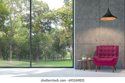 Loft style living room 3d rendering image.There are white floor,polished concrete wall Furnished with purple fabric armchair.There are large windows look out to see the nature