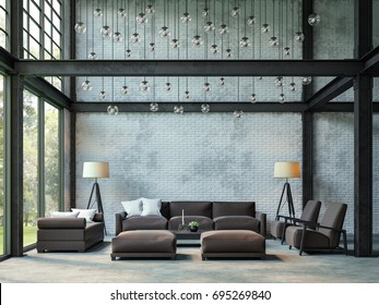 Loft style living room 3d rendering image.There are white brick wall,polished concrete floor and black steel structure.There are large windows look out to see the nature