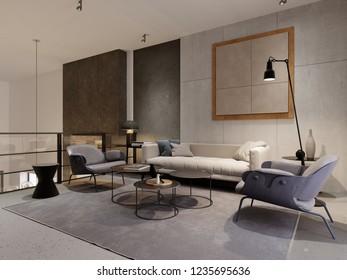 Loft style lounge area with sofa, two armchairs and decor. Designer concrete wall with details. Metal railings with glass. 3d rendering.