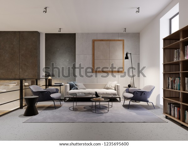 Illustration de stock de Coin salon de style loft avec ...