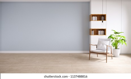 loft and vintage interior of living room, wood armchairs with plant on wood flooring and blue wall  ,3d rendering