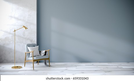 loft and vintage interior of living room, Blue armchairs on white flooring and blue wall  ,3d rendering