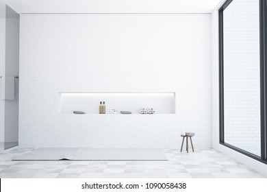 Loft white bathroom interior with a wooden tiled floor, a white bathtub, a shower stall and a built in shelf for self care products. 3d rendering mock up