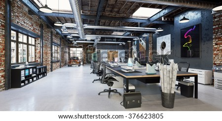 Loft workplace loft office interior modern stock illustration