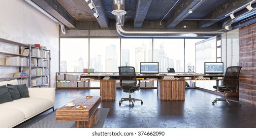 Loft workplace. Loft office. Modern office. Office workplace.