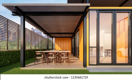 Lofts Restaurant Bistro & Bar made from shipping containers , 3d rendering