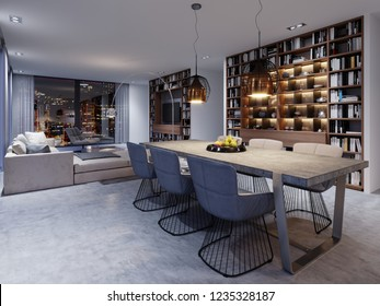 Loft-style dining room with large table and solid concrete worktop, six soft chairs in a creative design. 3d rendering.