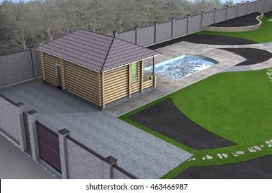 Log cabin aerial, 3d render