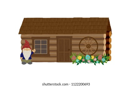 Log cabin coop cross-country jump with decorative wooden wagon wheel, flowers, and miniature gnome waving.