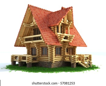 log house 3d illustration isolated on white background
