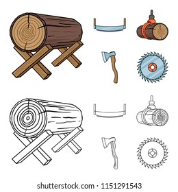 Log on supports, two-hand saw, ax, raising logs. Sawmill and timber set collection icons in cartoon,outline style bitmap symbol stock illustration web.