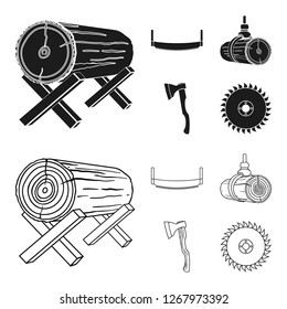 Log on supports, two-hand saw, ax, raising logs. Sawmill and timber set collection icons in black,outline style bitmap symbol stock illustration web.
