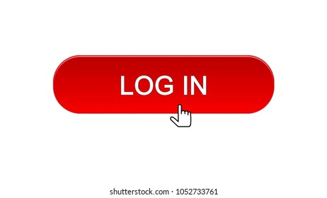Log in web interface button clicked with mouse cursor, red color, application