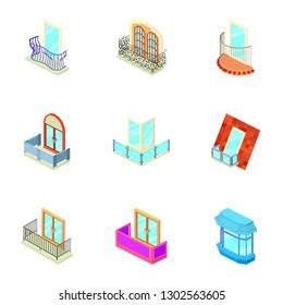 Loggia icons set. Isometric set of 9 loggia icons for web isolated on white background