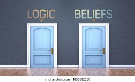 Logic and beliefs as a choice - pictured as words Logic, beliefs on doors to show that Logic and beliefs are opposite options while making decision, 3d illustration