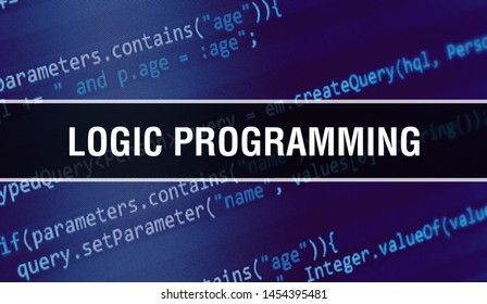 Logic programming with Binary code digital technology background. Abstract background with program code and Logic programming. Programming and coding technology background. Logic programming with