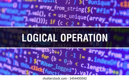 Logical operation concept illustration using code for developing programs and app. Logical operation website code with colorful tags in browser view on dark background. Logical operation on binary