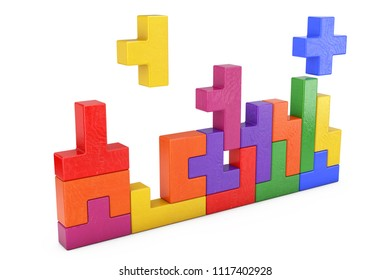 Logical Thinking Concept. Different Colorful Shapes Wooden Blocks on a white background. 3d Rendering
