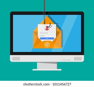 Login into account in email envelope and fishing hook. Internet phishing, hacked login and password. Netwrok and internet security. Anti virus, spyware, malware. illustration in flat style