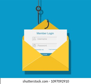 Login into account in email envelope and fishing hook. Internet phishing, hacked login and password. Netwrok and internet security. illustration in flat style. Raster version.