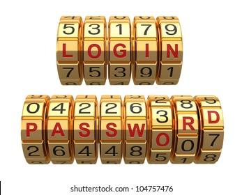 Login and  password as a combination system access. 3d