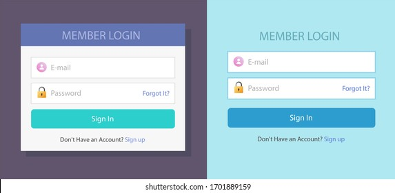 Login or sign in screen form box ui web template with username and password fields set flat design illustration, website log in menu bar with signin button modern trendy mockup image