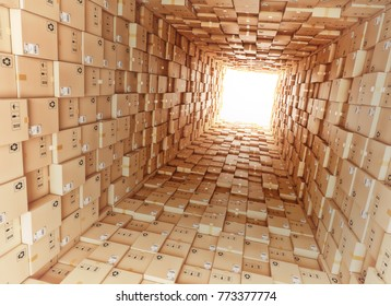 Logistic and distribution warehouse, packages and parcels delivery concept, tunnel from cardboard boxes, 3d illustration