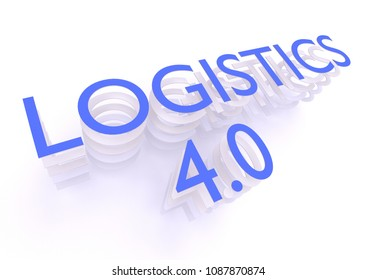 Logistics 4.0, words in blue letters on white background, 3D rendering