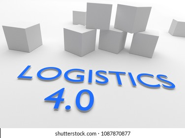 Logistics 4.0, words in blue letters in white setting with cubes, 3D rendering