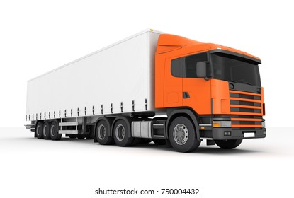 Logistics concept. Cargo truck transporting goods moving from left to right isolated on white background. Front side view. 3D illustration