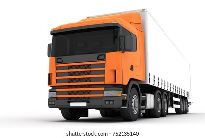 Logistics concept. Cargo truck transporting goods moving from right to left isolated on white background. Front side view. 3D illustration