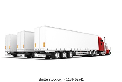 Logistics concept. Group of three red american Freightliner cargo trucks with containers stand in a row from left to right isolated on white background. Perspective. Rear side view. 3D illustration