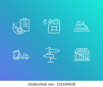 Logistics icon set and bulldozer with road sign, gas can and crate. Backhoe related logistics icon  for web UI logo design.