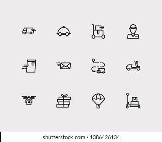 Logistics icons set. Global delivery and logistics icons with lorry truck, pizza delivery and food delivery. Set of fresh for web app logo UI design.