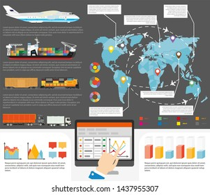 Logistics infographics for international or worldiwde shipment delivery.  flat template of world map and shipping cargos and transportation routes with chart graphs and diagram flowcharts