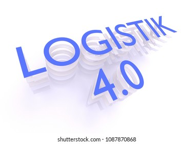 Logistik 4.0 (German for Logistics 4.0), words in blue letters on white background, 3D rendering