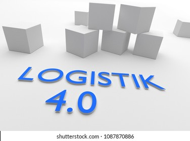 Logistik 4.0 (German for Logistics 4.0), words in blue letters in white setting with cubes, 3D rendering