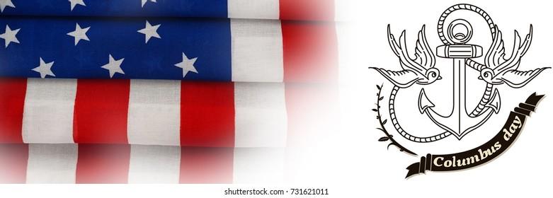 Logo for american event colombus day against full frame of wrinkled american flag