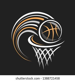 Logo for Basketball, decorative badge with basketball ball flying on trajectory in basket with net on black background, sports chalk sketch on blackboard.