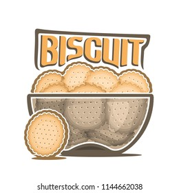 Logo for Biscuit, transparent bowl with pile of round crunchy crackers with holes, original typography font for yellow word biscuit, poster with heap of digestive cookies in clear dish on white