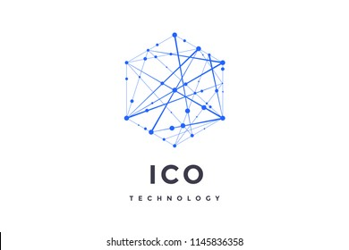 Logo for blockchain technology. Hexagon with connected lines for logo, brand, label, emblem, branding of smart contract block symbol. Design for decentralized transactions. Illustration