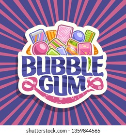 Logo for Bubble Gum, white sign with pile of colorful chewing bubblegums and fruit gummy candies, original brush typeface for words bubble gum, vivid illustration of variety kid sweets.
