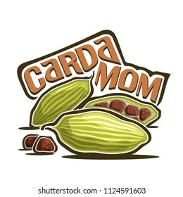 Logo for Cardamom: green pods with brown seeds of cardamon, label with title text - cardamom on white, ingredient for indian drink masala tea, elaichi or elettaria cardamomum for essential oil.