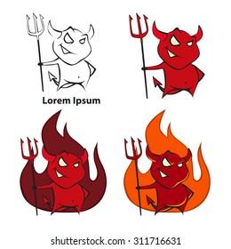 logo cartoon devil, simple illustration
