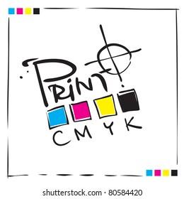 Logo CMYK Print concept design, painterly calligraphic freehand style (raster version)