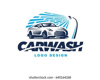 Logo design car wash on light background.