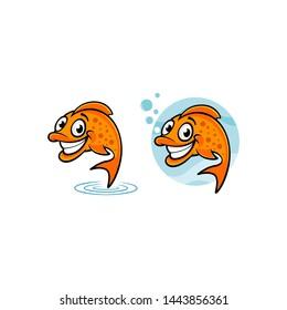 logo design for fish cartoon, mascot