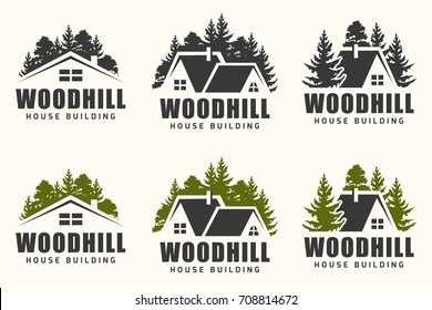 logo design of a trees silhouette and small house. Logo for house repair and building.
